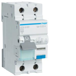 Дифференциальный автоматический выключатель 1P+N 6kA B-16A 30mA A-тип ADA916D