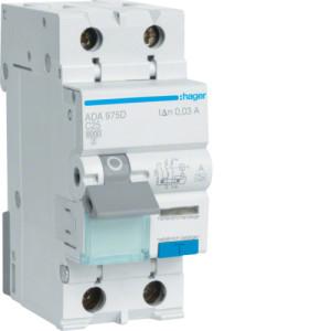 Дифференциальный автоматический выключатель 1P+N 6kA C-25A 30mA A-тип ADA975D
