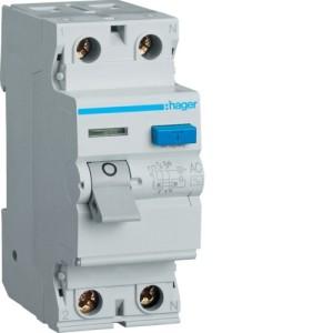 Устройство защитного отключения 2P, 25A, 30mA, AC-тип, Hager