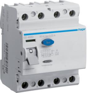 Устройство защитного отключения 4P, 80A, 30mA, A-тип, Hager