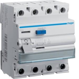 Устройство защитного отключения 4P, 40A, 300mA, A-тип, Hager