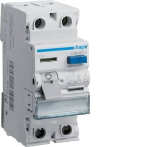 Устройство защитного отключения 2P, 63A, 500mA, A-тип, Hager