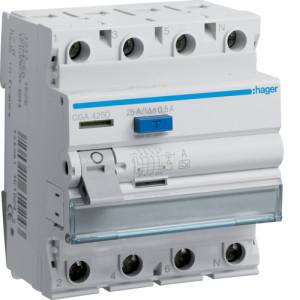 Устройство защитного отключения 4P, 63A, 500mA, A-тип, Hager