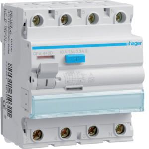 Устройство защитного отключения 4P, 40A, 300mA, A-тип, S, Hager