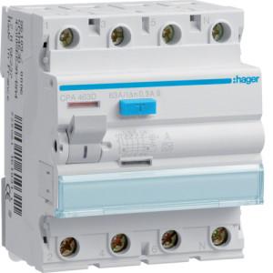 Устройство защитного отключения 4P, 63A, 300mA, A-тип, S, Hager