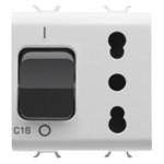 Автоматический выключатель 1P C16 3kA 230V AC и розетка без заземления 2P