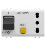 Автоматический дифференциальный выключатель 1P+N C16 3kA 10mA  и розетка(типа P17-P11) без заземления 2P