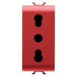 Розетка с заземлением  2P+Е с защитными шторками 16A, итальянский стандарт, Ø 4/5 мм, красного цвета