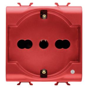 Розетка с заземлением  2x(2P+Е) с защитными шторками 16A, итальянский стандарт, Ø 4/4.8/5 мм, красного цвета