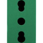 Розетка с заземлением  2P+Е с защитными шторками 16A, итальянский стандарт, Ø 4/5 мм, зеленого цвета