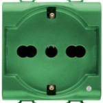 Розетка с заземлением 2x(2P+Е) с защитными шторками 16A, итальянский стандарт, Ø 4/4.8/5 мм, зеленого цвета