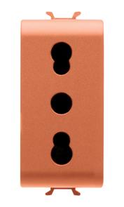 Розетка с заземлением  2P+Е с защитными шторками 16A, итальянский стандарт, Ø 4/5 мм, оранжевого цвета