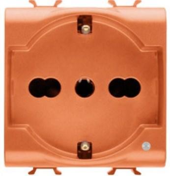Розетка с заземлением 2x(2P+Е) с защитными шторками 16A, итальянский стандарт, Ø 4/4.8/5 мм, оранжевого цвета