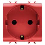 Розетка с заземлением 2P+Е с защитными шторками 16A, немецкий стандарт, Ø4.8 мм, красного цвета