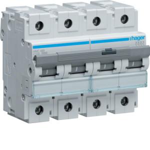 Миниатюрный автоматический выключатель 4 полюс 100А 15kA характеристика C 6м