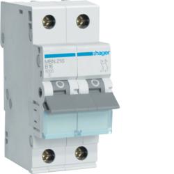 Миниатюрный автоматический выключатель 2 полюсный, 16А, 6kA, характеристика B, MBN