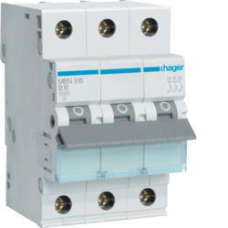 Миниатюрный автоматический выключатель 3 полюсный, 16А, 6kA, характеристика B, MBN