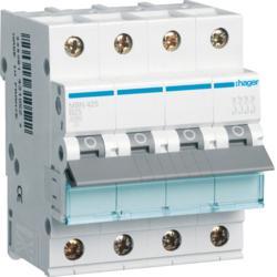 Миниатюрный автоматический выключатель 4 полюсный,  25А, 6kA, характеристика B, MBN