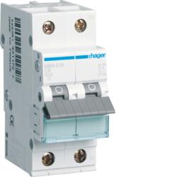 Миниатюрный автоматический выключатель 1 полюс + N,  16А, 6kA, характеристика B, MBN