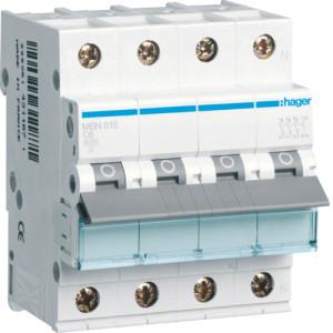Миниатюрный автоматический выключатель 3 полюсный + N, 16А, 6kA, характеристика B, MBN