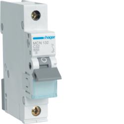 Миниатюрный автоматический выключатель 1 полюсный, 32А, 6kA,  характеристика C, MCN