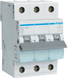 Миниатюрный автоматический выключатель 3 полюсный, 3А, 6kA, характеристика C, MCN