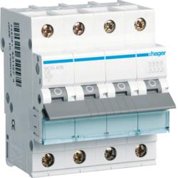 Миниатюрный автоматический выключатель 4 полюсный, 6А, 6kA, характеристика C, MCN
