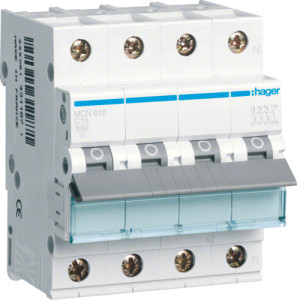 Миниатюрный автоматический выключатель 3 полюсный +N, 10А, 6kA, характеристика C, MCN