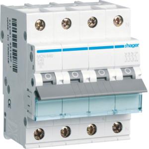 Миниатюрный автоматический выключатель 3 полюсный + N, 40А, 6kA, характеристика C, MCN