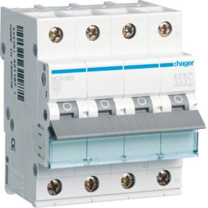 Миниатюрный автоматический выключатель 3 полюсный + N, 63А, 6kA, характеристика C, MCN