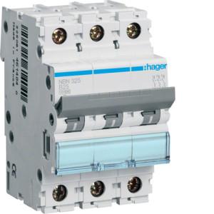 Миниатюрный автоматический выключатель 3 полюсный 25А 10kA характеристика B