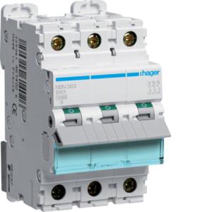Миниатюрный автоматический выключатель 3 полюсный 63А 10kA характеристика B