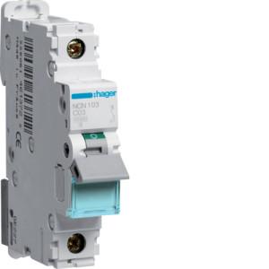 Миниатюрный автоматический выключатель 1 полюсный 3А 10kA характеристика C