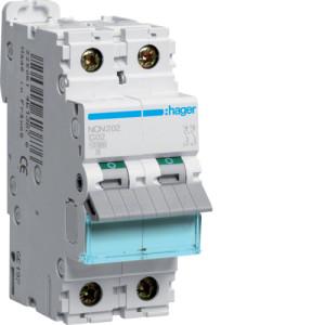 Миниатюрный автоматический выключатель 2 полюсный 2А 10kA характеристика C