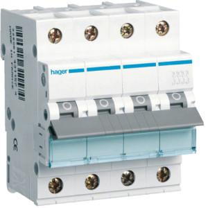 Миниатюрный автоматический выключатель 4 полюсый 6А 10kA характеристика C