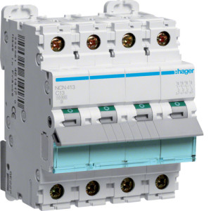 Миниатюрный автоматический выключатель 4 полюсый 13А 10kA характеристика C
