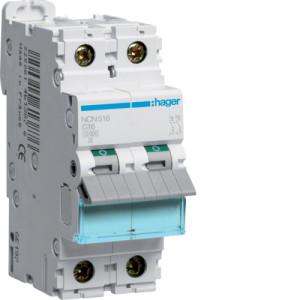 Миниатюрный автоматический выключатель 1 полюс+N  16A  10kA характеристика C