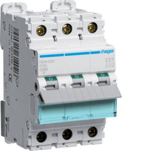Миниатюрный автоматический выключатель 3 полюсный 50А 10kA характеристика D