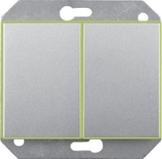 Выключатель 2-клавишный (5) с подсветкой без рамки