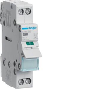 Миниатюрный неавтоматический выключатель 2 полюсный 16А  с  индикатором серии SBM
