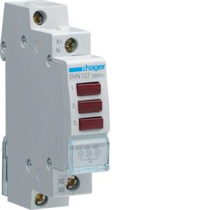 Светодиодный индикатор тройной c  красным  фильтром  230В , серии SVN