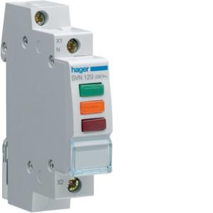 Светодиодный индикатор тройной с красным, оранжевым и зеленым  фильтрами  230В , серии SVN
