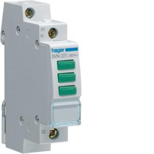 Светодиодный индикатор тройной с зеленым  фильтром  230В , серии SVN