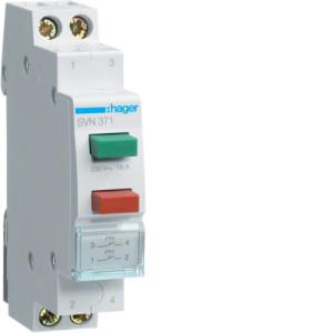 Модульная кнопка, 2 толкателя (зелёный, красный), 2 полюсная,  2 н.о., 16А   серии SVN