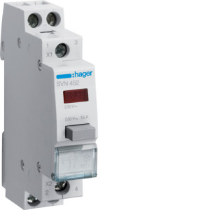 Модульная кнопка, 2 полюсный,  н.о+н.з., 16А,  с  индикатором, серии SVN