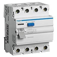 Устройство защитного отключения 4P, 25A, 30mA, AC-тип, Hager