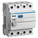 Устройство защитного отключения 4P, 63A, 30mA, AC-тип, Hager