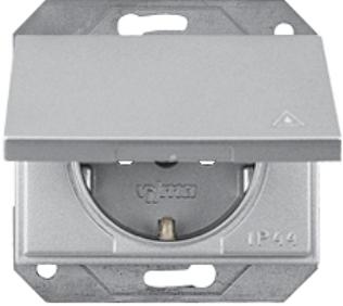 Розетка IP44 с заземлением со шторками и крышкой без рамки