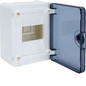 Распределительный щит для наружного монтажа,  4 модуля  1 ряд серия Golf, дверь прозрачная.