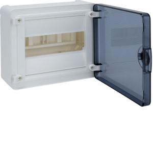 Распределительный щит для наружного монтажа,  8 модуля  1 ряд серия Golf, дверь прозрачная.